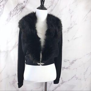 Sweaters - Vtg Black Cardigan Sweater with Mink Fur Collar